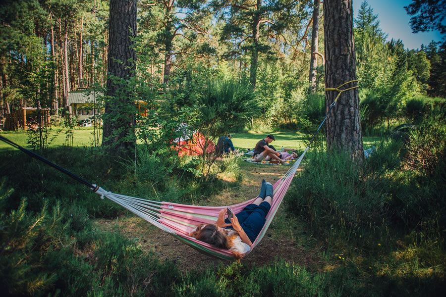 The Lazy Duck Campsite Hammocks, Nethy bridge, near Aviemore, Cairngorms National Park, Scotland