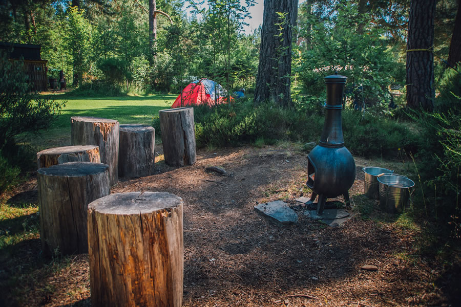 The Lazy Duck Campsite Chimenea, Nethy bridge, near Aviemore, Cairngorms National Park, Scotland