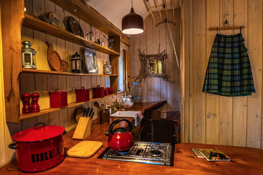 The Duck's Nest eco lodge, kitchen 2, Nethy Bridge, Near Aviemore, Cairngorms National Park, Scotland