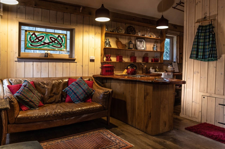 The Duck's nest, eco lodge, kitchen, Nethy Bridge, Near Aviemore, Cairngorms National Park, Scotland