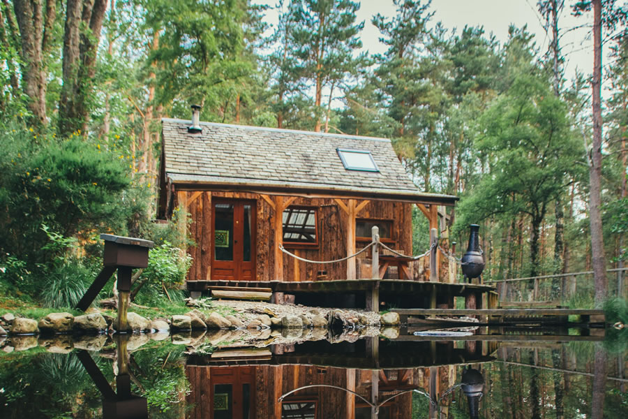 The Duck's Nest eco cabin pond, Nethy bridge, near Aviemore, Cairngorm National Park, Scotland