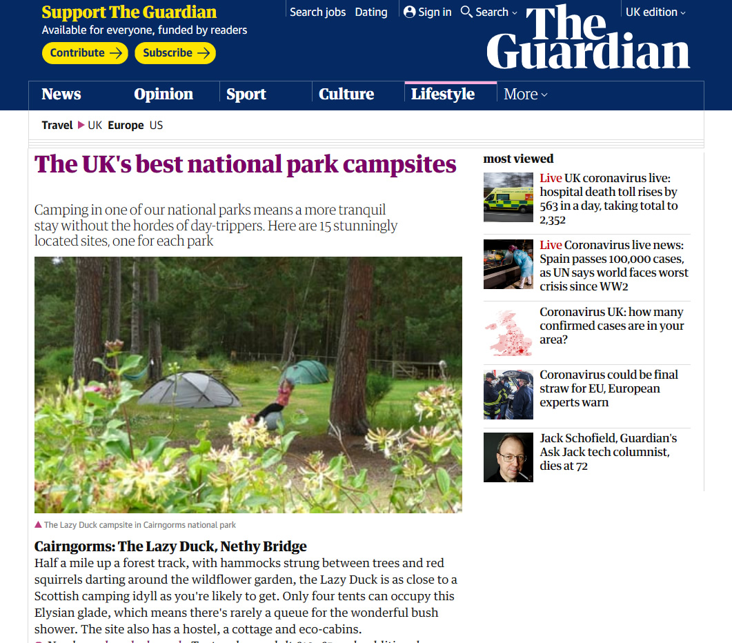 The Guardian, UK's best national park campsites