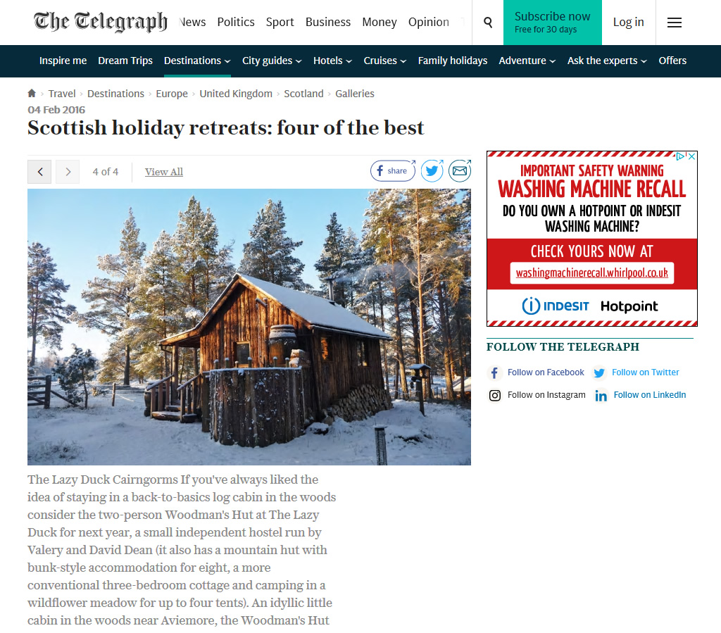 The Telegraph, four of the best Scottish holiday retreats