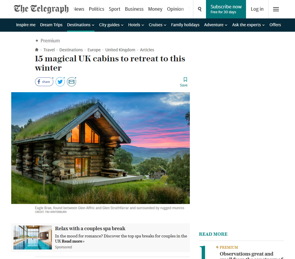 The Telegraph 15 magical UK Cabins