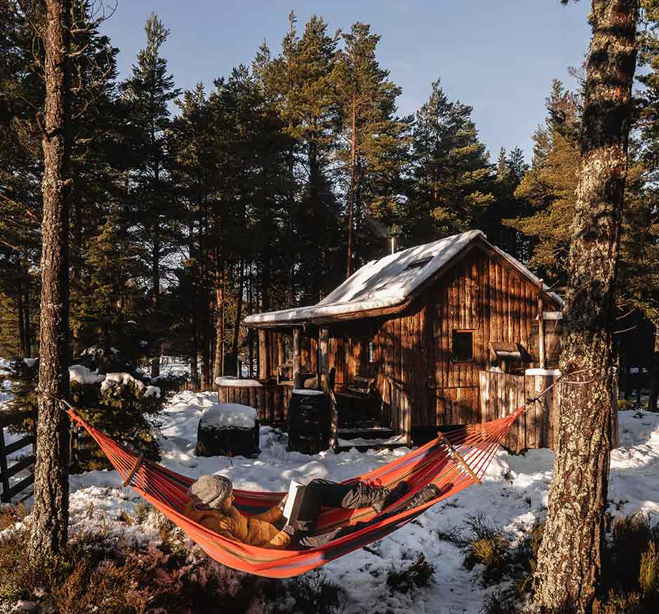 The Woodmans Hut, Forest Bathing, Hammock, Cairngorms National Park, Travel Two