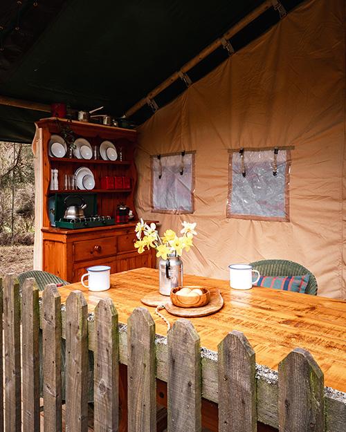 Basecamp Safari Tent Porch, Lazy Duck, Nethybridge Camping, Cairngorms National Park
