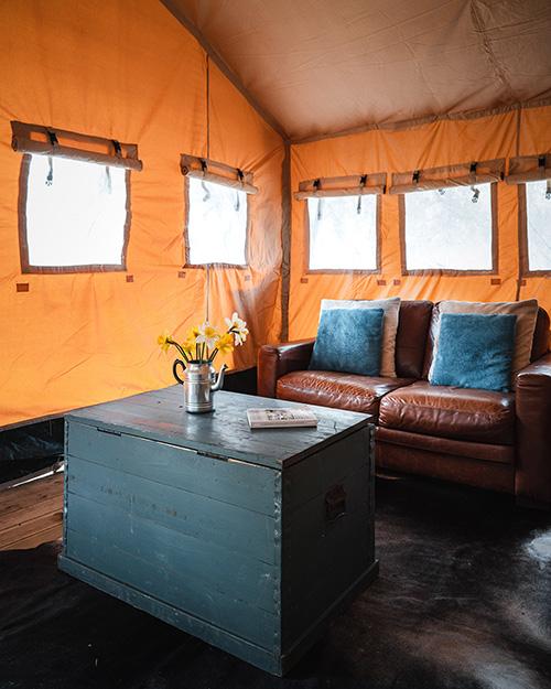 Basecamp Safari Tent Lounge, Lazy Duck, Nethybridge Camping, Cairngorms National Park